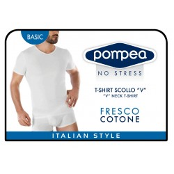 Men's T-Shirt with Short Sleeves and V Neck Pompea